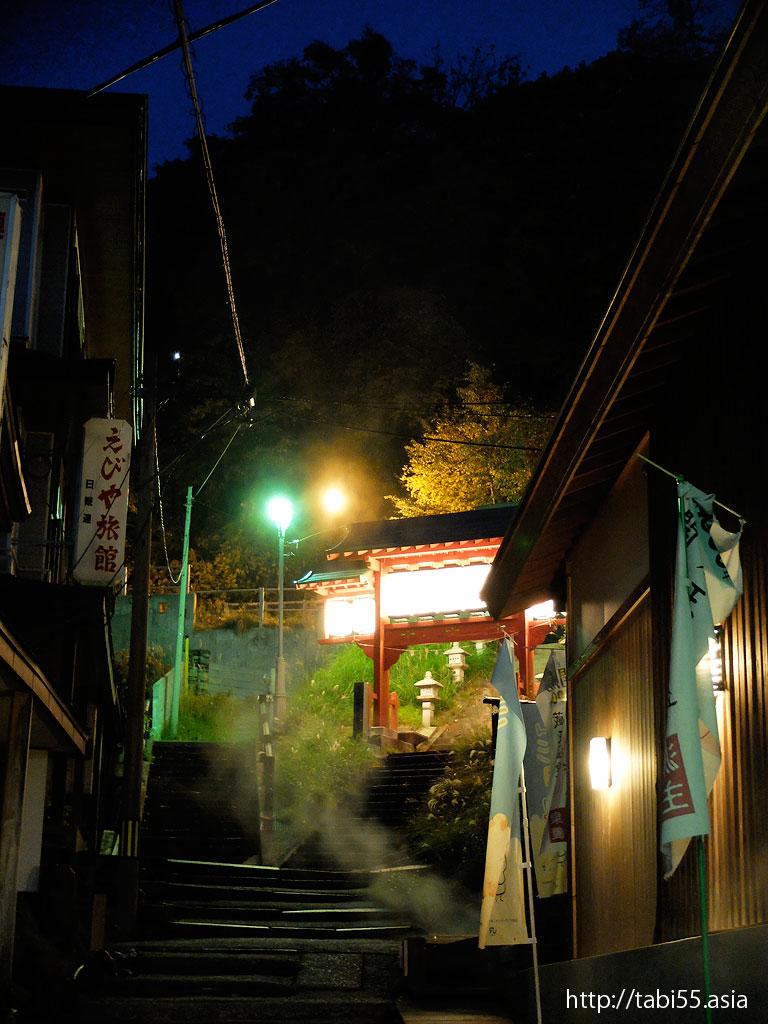 夜の山形蔵王温泉(山形県山形市)