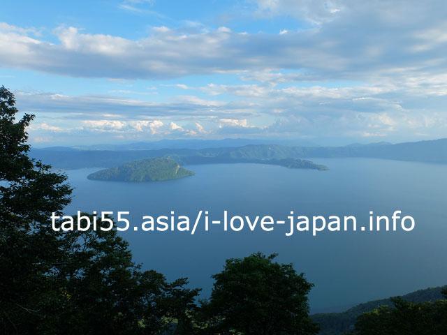 御鼻部山展望台から、十和田湖を眺める
