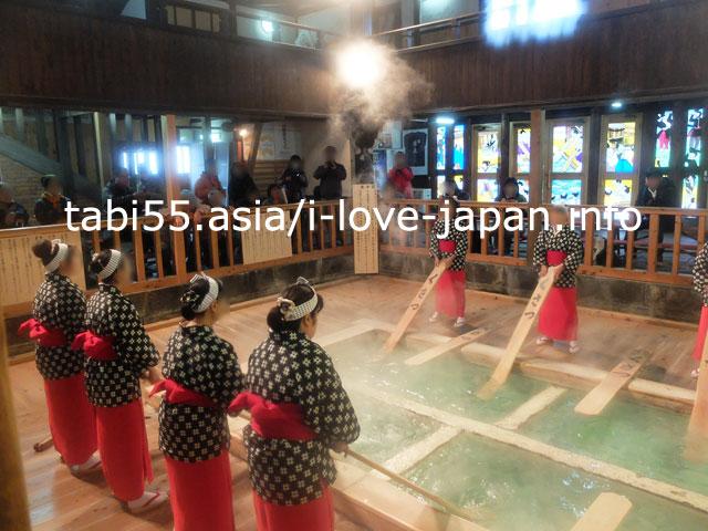 草津温泉にきたなら!熱の湯(ねつのゆ)で湯もみと踊りのショーを見学