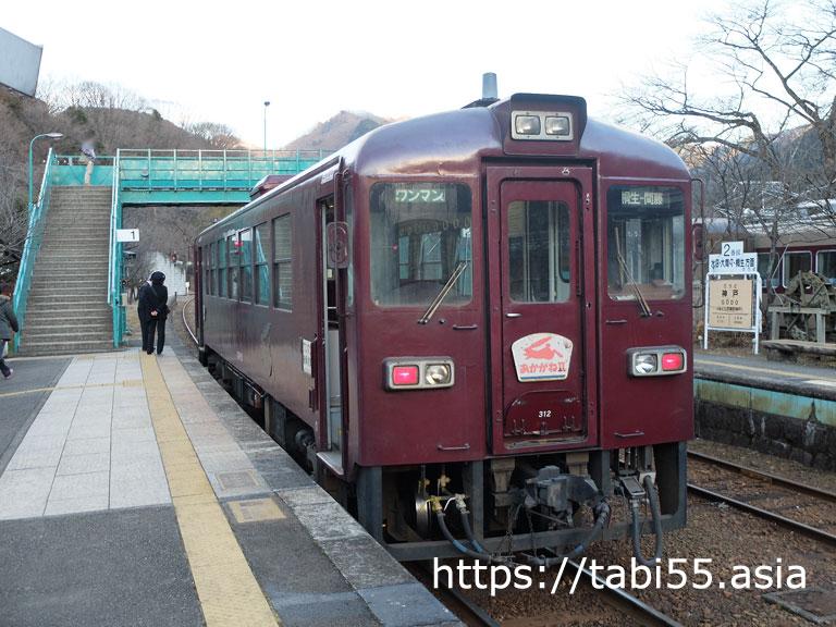 わたらせ渓谷鐵道:神戸(こうど)駅【7分停車中】に記念撮影
