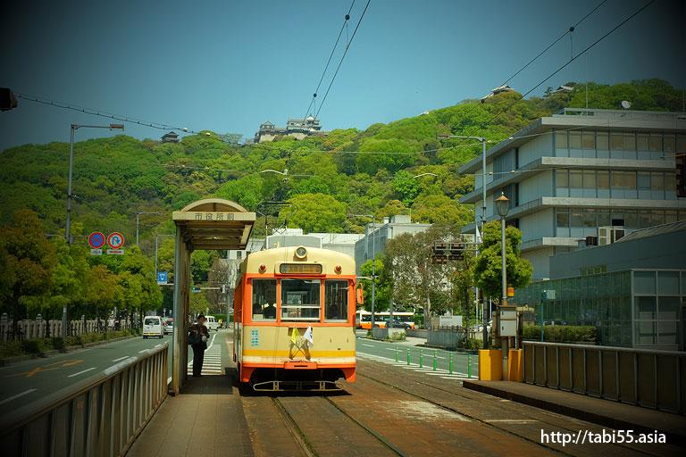 「松山城」「路面電車」