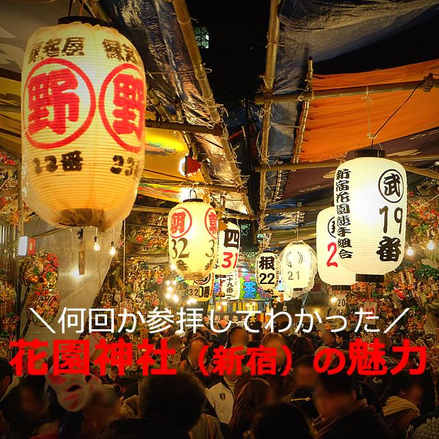花園神社と言えば!酉の市の夜、骨董市?赤い鳥居もあるよ(東京都新宿区)