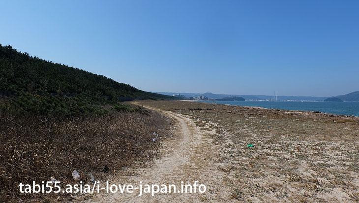 海岸線沿いから、虹の松原を眺める