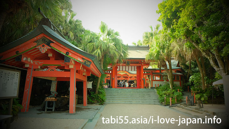 Aoshima shrine Be sure to watch the Motomiya that was protected by subtropical trees!