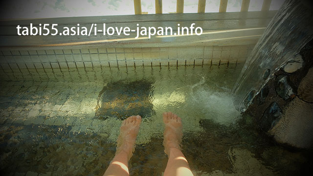 Arrive at Yu-nokawa Onsen(hot spring)! First to the footbath