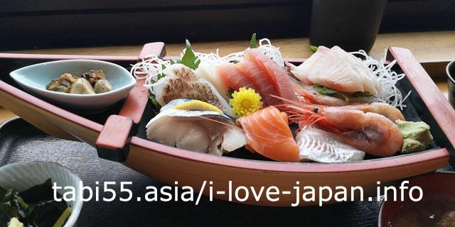 海鮮どんやとびしま(さかた海鮮市場)で「舟盛膳」にありつく