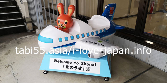 Local Mascot at Shonai Airport! Let's take a picture with Mameusa